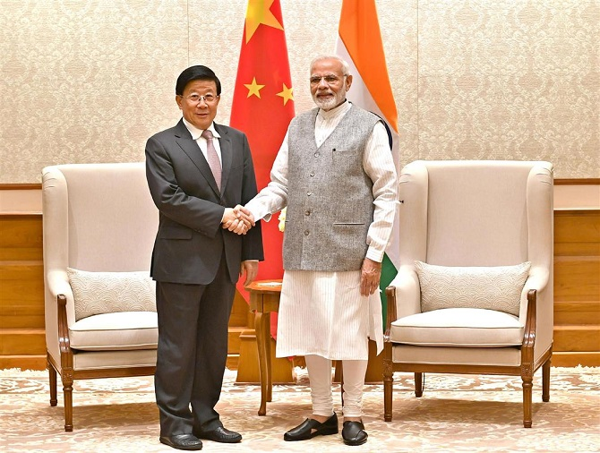 Chinese State Councillor and Minister of Public Security Zhao Kezhi calls on Prime Minister Narendra Damodardas Modi, October 23, 2018. Photograph: Press Information Bureau