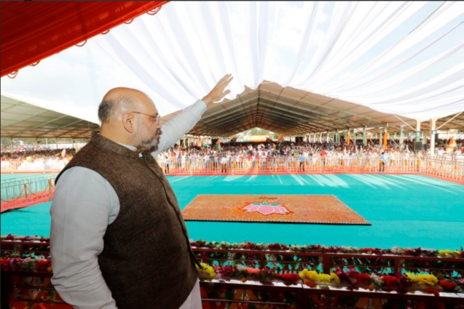 BJP national President Amit Anilchandra Shah at an election rally in Jagdalpur, Chhattisgarh. Photograph: Kind courtesy Amit Shah/Twitter