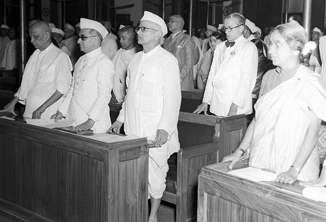 Sardar Patel during the Independence Day session of the Constituent Assembly, August 15, 1947. Photograph: Kind courtesy PIB/Instagram