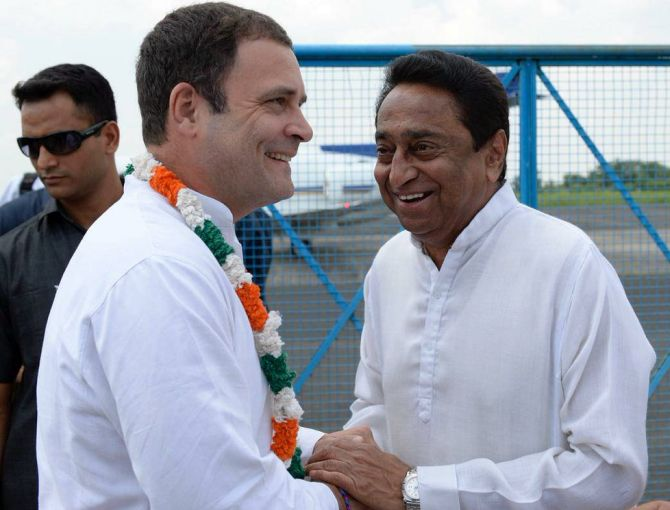 Kamal Nath with Rahul Gandhi who appointed him Madhya Pradesh Congress Committee president and the leader who supervised the party's election campaign. Photograph: @INCIndia/Twitter