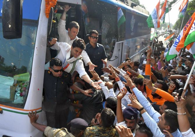 Congress President Rahul Gandhi on a road show during the election campaign in Madhya Pradesh. Photograph: PTI Photo