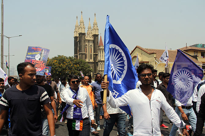 A protest in Mumbai on March 26, 2018 against the Bhima-Koregaon violence