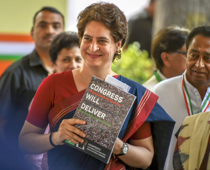 Congress General Secretary Priyanka Gandhi Vadra at the release of the party's election manifesto. Photograph: Kamal Singh/PTI Photo