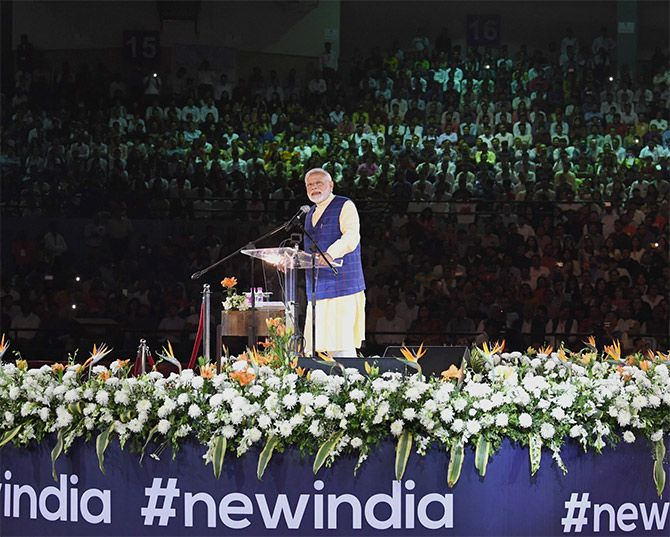 Prime Minister Narendra Damodardas Modi addresses the New India Youth conclave in Surat, January 30, 2019. Photograph: Press Information Bureau