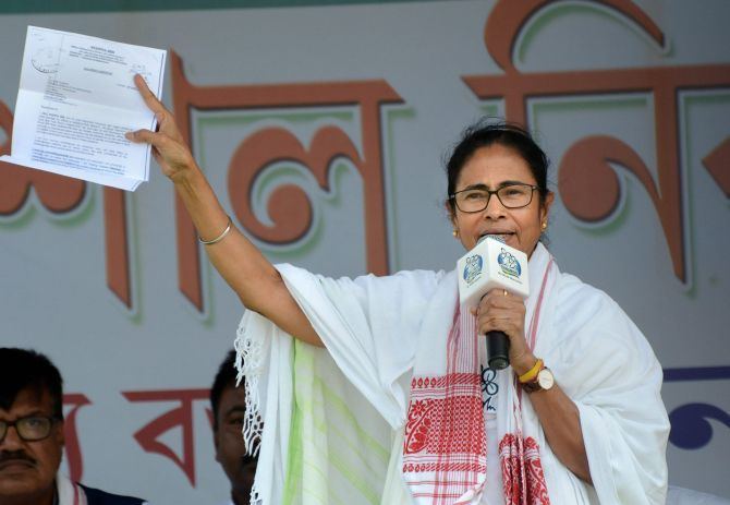 IMAGE: West Bengal Chief Minister and Trinamool Congress President Mamata Banerjee at an election rally in Dhubri, Bengal, May 10, 2019. Photograph: PTI Photo