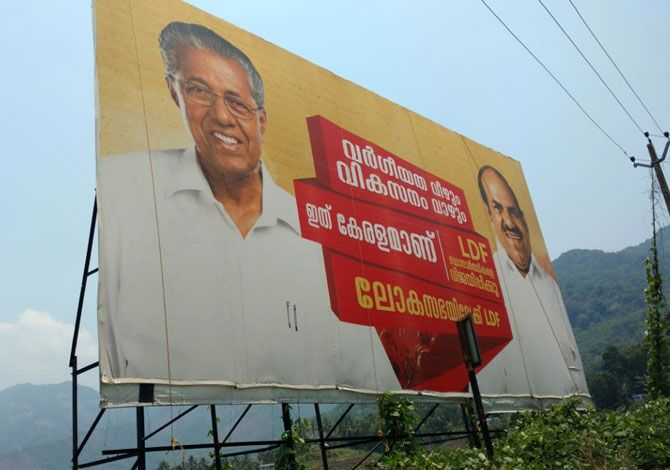 Huge billboards of Marxist leaders Pinarayi Vijayan, Kerala's chief minister, and Kodiyeri Balakrishnan, secretary, Communist Party of India-Marxist's Kerala unit, greet visitors to Wayanad. Photograph: Nikhil Lakshman/Rediff.com