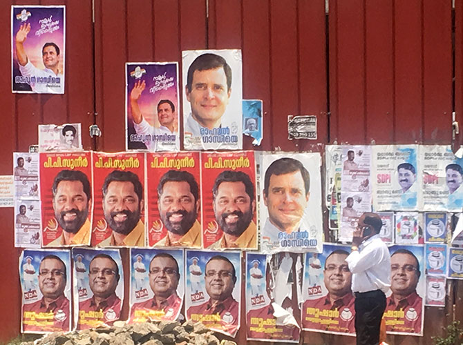 Posters of 3 main candidates in Wayanand