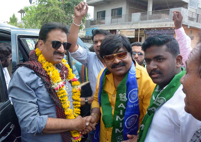 Imtiaz Jaleel on the campaign trail in Aurangabad.