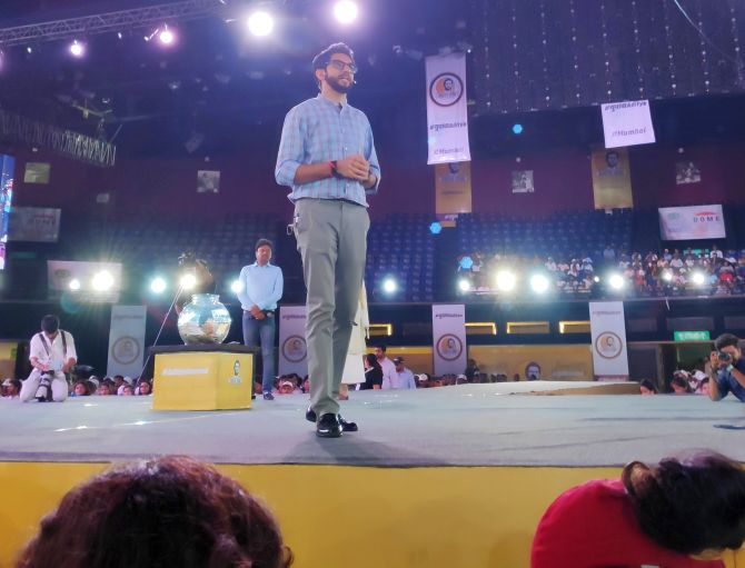 Yuva Sena chief Aaditya Thackeray interacts with the youth in Mumbai, April 22, 2019. Photograph: Hemant Waje/Rediff.com