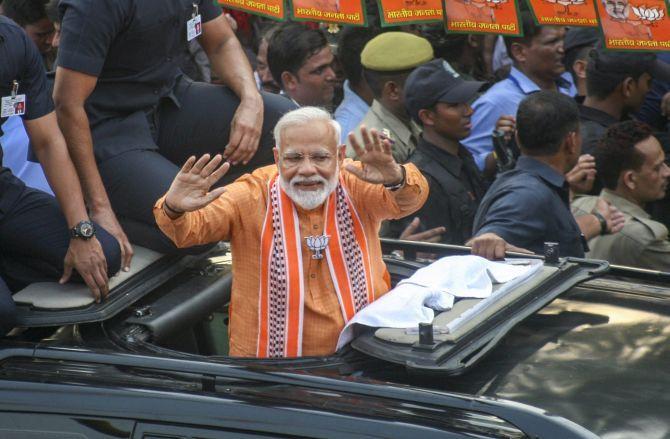 Narendra Damodardas Modi during his road show in Varanasi, April 25, 2019.