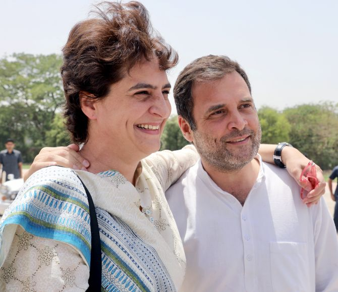 Congress national President Rahul Gandhi and his sister Congress General Secretary Priyanka Gandhi Vadra met each other by chance at Kanpur airport, April 27.