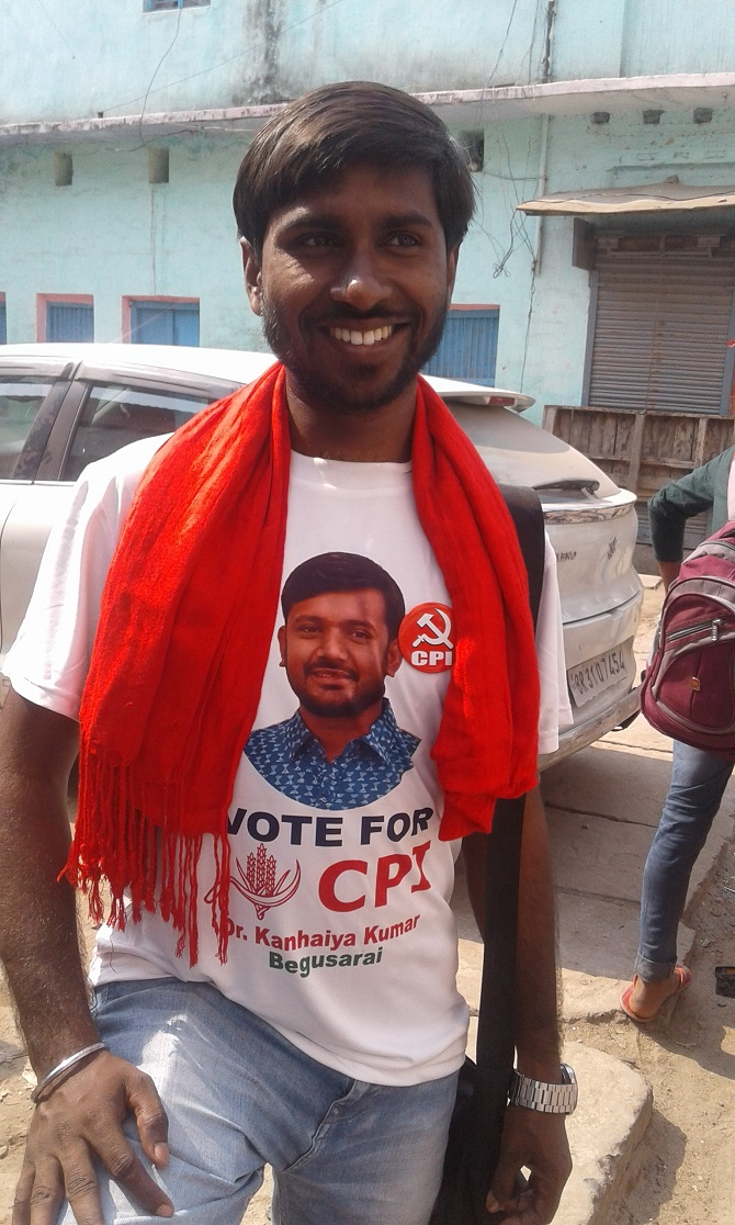 A supporter of Kanhaiya Kumar wearing T-shirt printed with CPI content. Photograph: M I Khan / Rediff.com