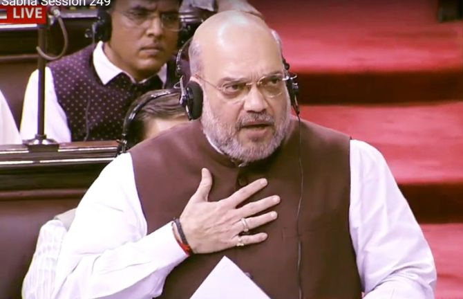 Home Minister Amit Shah introduces the resolution scrapping Article 370 in the Rajya Sabha on August 5, 2019. Photograph: ANI Photo