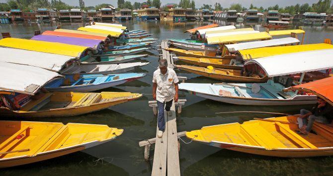 Boats on Dal Lake