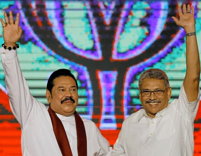 Gotabaya Rajapaksa, Sri Lanka's new president, right, with his brother, former president Mahinda Rajapaksa, who is expected to be named prime minister if their Sri Lanka People's Front Party wins the coming parliamentary election on the island. Photograph: Dinuka Liyanawatte/Reuters