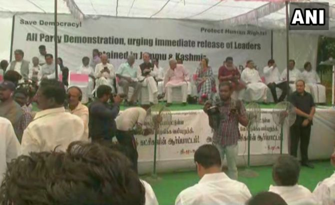 Opposition protests, demands release of J-K leaders