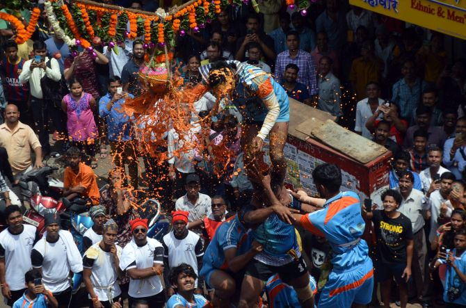 PHOTOS: Maha 'Dahi handi' celebrations remain low-key