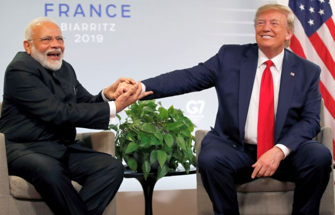Prime Minister Modi and President Trump at the G-20 summit in Biarritz, France, August 2019.