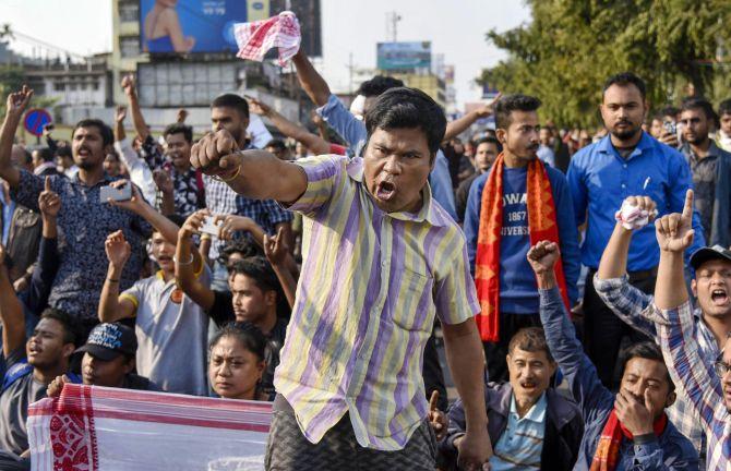 Protestors raise slogans against the Citizenship Amendment Act. Photograph: PTI Photo