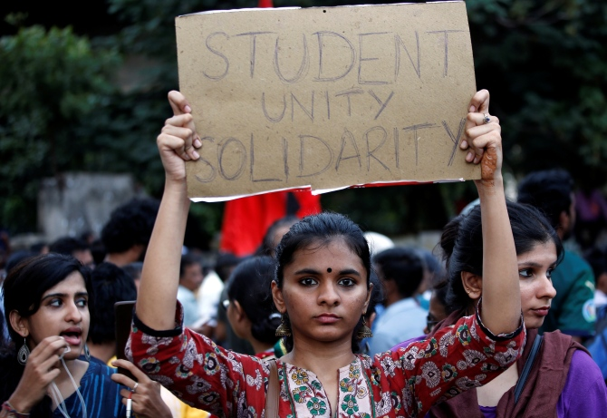 A protest in Chennai to show solidarity with students of New Delhi's Jamia Millia Islamia university after police entered the university campus following a protest against the new citizenship law. Photograph: P Ravikumar/Reuters