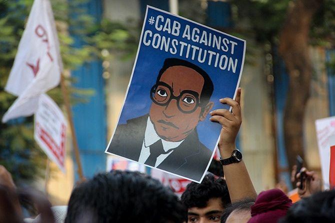 A protest against the Citizenship (Amendment) Act at the historic August Kranti Maidan in Mumbai, December 19, 2019. Photograph: Uttam Ghosh/Rediff.com