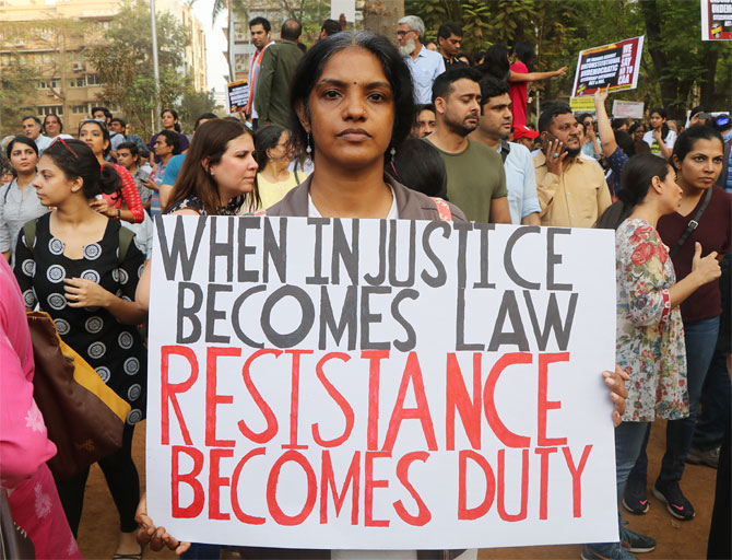 A protestor at the anti-Citizenship Amendment Act protest at Mumbai's August Kranti Maidan, December 19, 2019. Photograph: Hitesh Harisinghani/Rediff.com