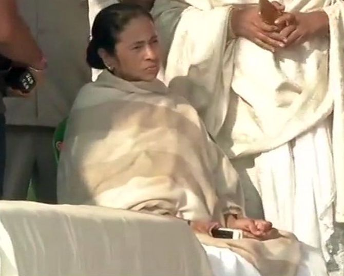 West Bengal Chief Minister Mamata Banerjee on her 'Save the Constitution' dharna, February 4, 2019. Photograph: ANI