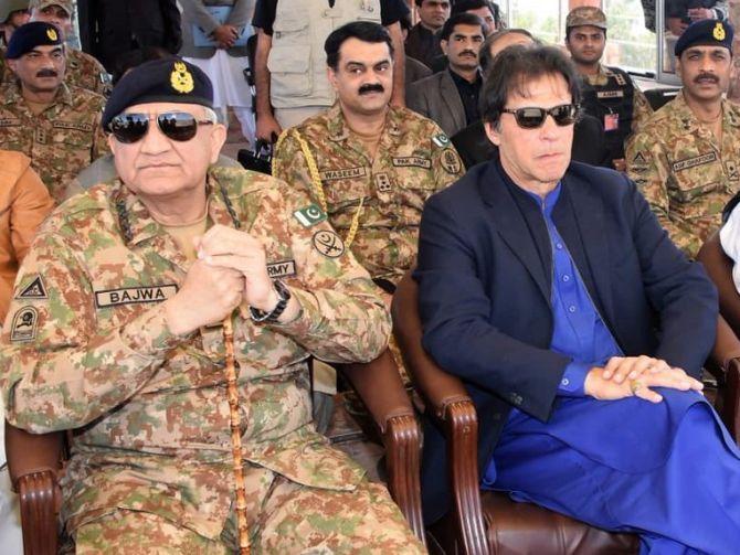 Pakistan Army chief General Qamar Javed Bajwa with Prime Minister Imran Khan.