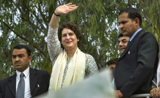 Priyanka Gandhi during the road show in Lucknow