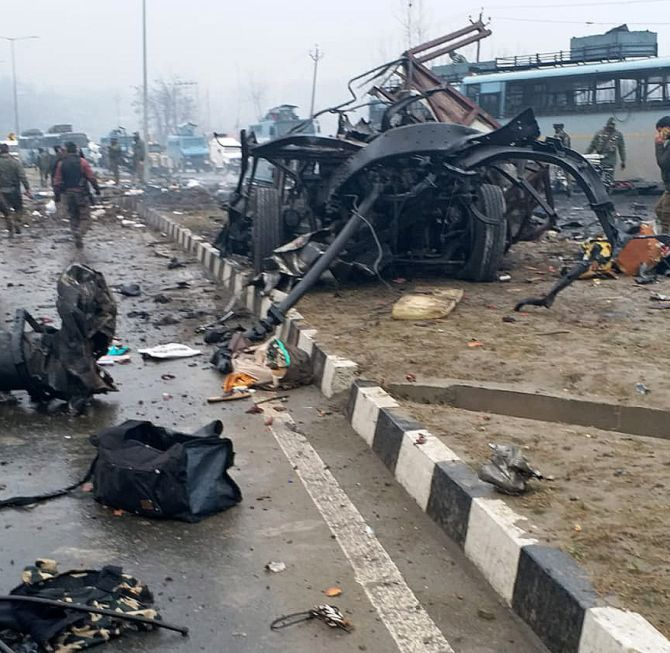 The scene of the terror attack on a CRPF convoy in Pulwama, Kashmir. Photograph: Umar Ganie