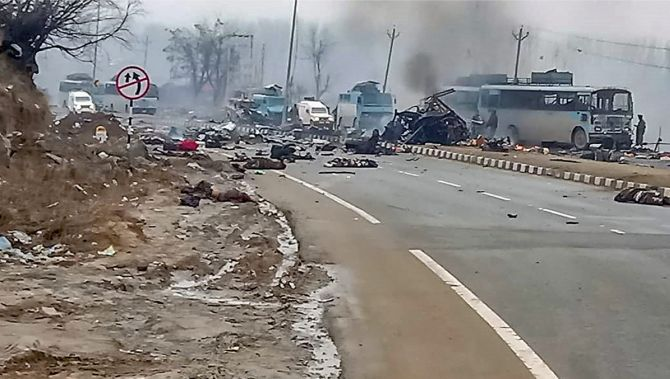 The scene of the blast which killed 44 CRPF troopers. Photograph: PTI