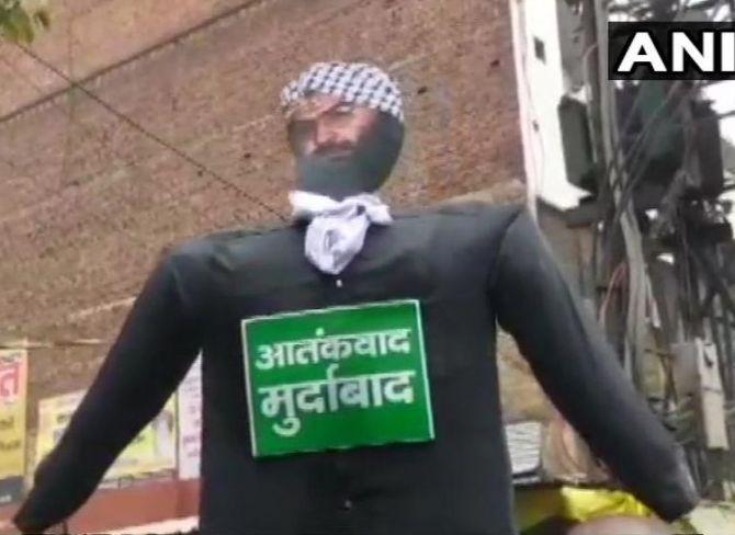 A protest against Jaish-e-Mohammed terrorist Masood Azhar. Photograph: ANI