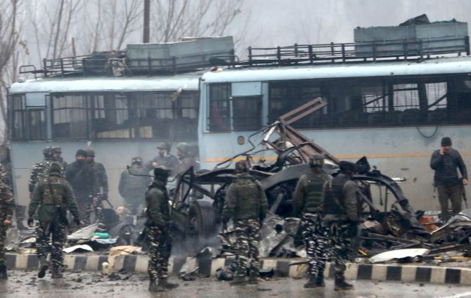 The scene of the blast which killed 40 CRPF troopers, February 14, 2019. Photograph: Umar Ganie/Rediff.com