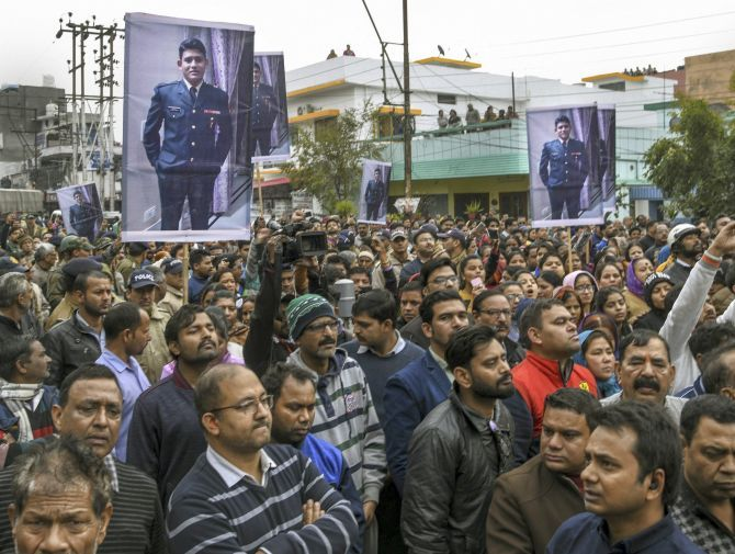 Dehra Dun residents gathered for Major Chitresh Singh Bisht's final journey, February 18, 2019. Photograph: PTI Photo