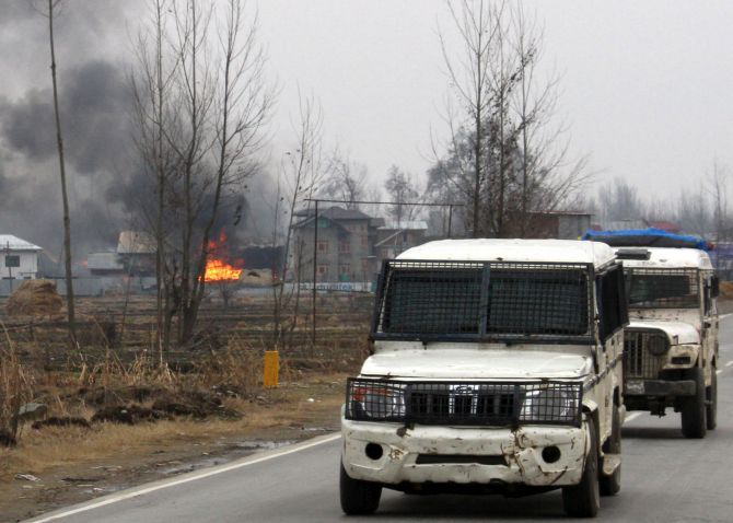 The scene of Monday's encounter in which three Jaish e Mohammed terrorists and six Indian defence personnel were killed