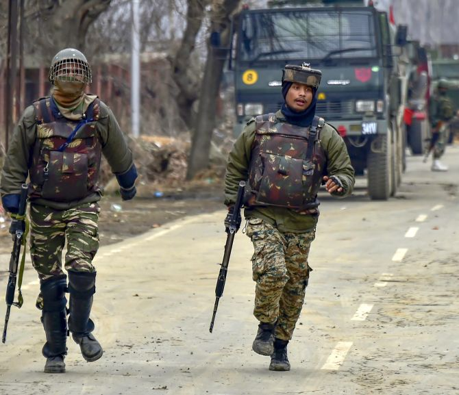 Indian Army soldiers at an encounter in which six soldiers were killed in Pulwama, south Kashmir, February 18, 2019.