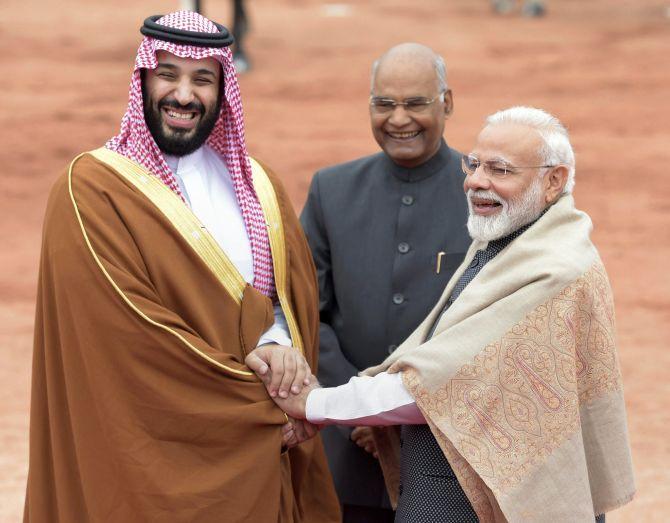 President Ram Nath Kovind, Prime Minister Narendra Damodardas Modi and Saudi Arabia's Crown Prince Mohammed bin Salman at Rashtrapati Bhavan, February 20, 2019. Photograph: Vijay Verma/PTI Photo
