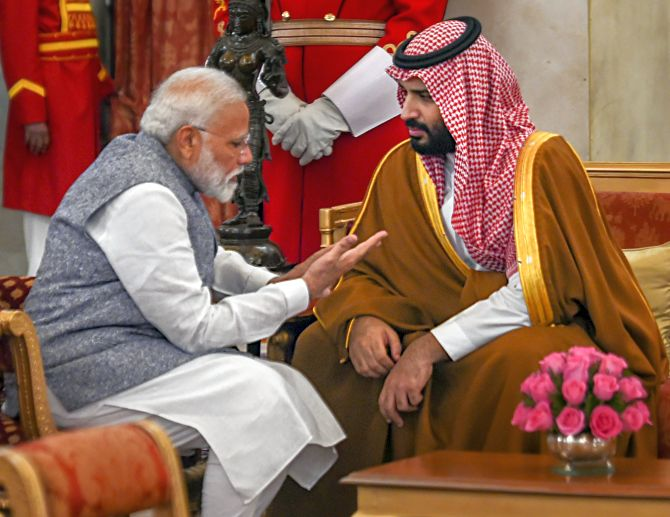 Prime Minister Narendra Modi with Saudi Arabia's Crown Prince Mohammed bin Salman at Rashtrapati Bhavan, February, 20, 2019. Photograph: Shahbaz Khan/PTI Photo