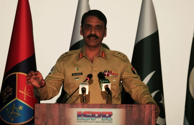 Major General Asif Ghafoor, then director general of the Pakistan army's Inter Services Public Relations, at a news conference in Rawalpindi. Photograph: Faisal Mahmood/Reuters