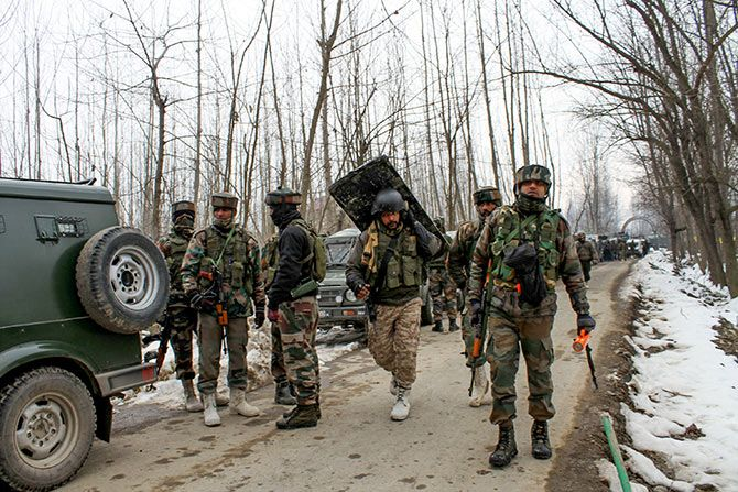 Indian Army soldiers at an encounter in which two soldiers were killed in the Ratnipora area, Pulwama, south Kashmir, February 12, 2019. Photographs: Umar Ganie for Rediff.com