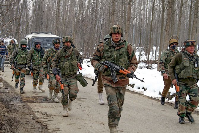 Indian soldiers during an anti terror operation in Pulwama
