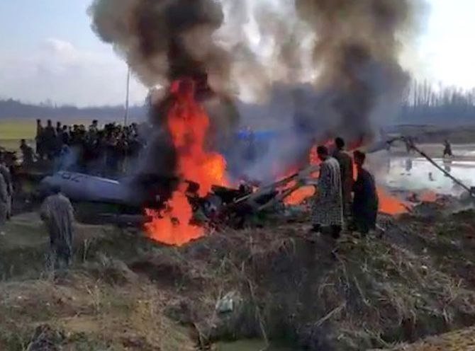 The burning wreckage of the IAF helicopter, February 27, 2019