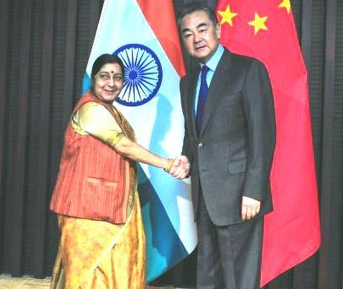 External Affairs Minister Sushma Swaraj with Chinese Foreign Minister Wang Yi in Wuzhen, February 27, 2019. Photograph: @MEAIndia/Twitter