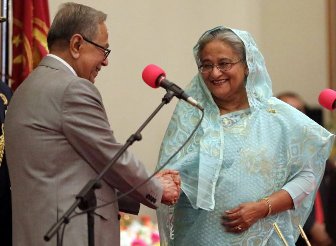 Sheikh Hasina with President Abdul Hamid after she took the oath as Bangladesh's prime minister in Dhaka, January 7, 2019. Photograph: Mohammad Ponir Hossain/Reuters