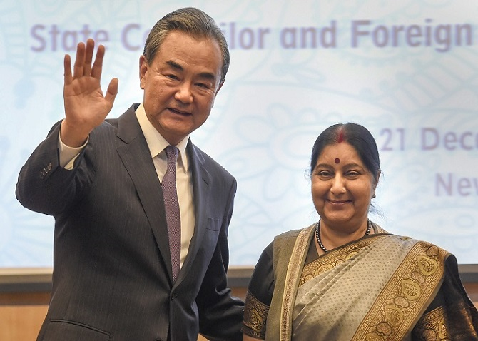 External Affairs Minister Sushma Swaraj and Chinese Foreign Minister Wang Yi in New Delhi, December 21, 2018. Photograph: PTI Photo