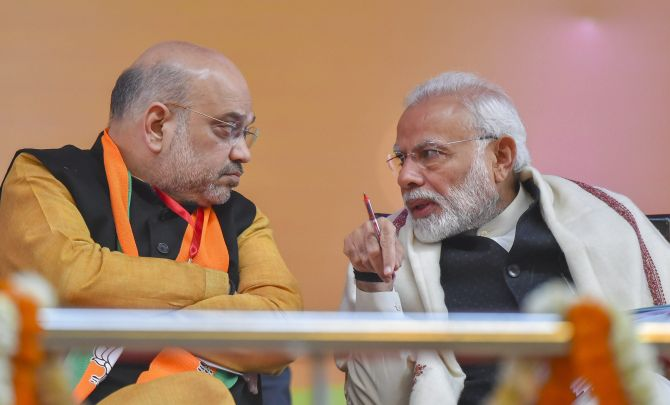 Prime Minister Narendra Damodardas Modi and Bharatiya Janata Party National President Amit Anilchandra Shah at the BJP national convention at the Ramlila Maidan in New Delhi, January 12, 2019. Photograph: Kamal Kishore/PTI Photo