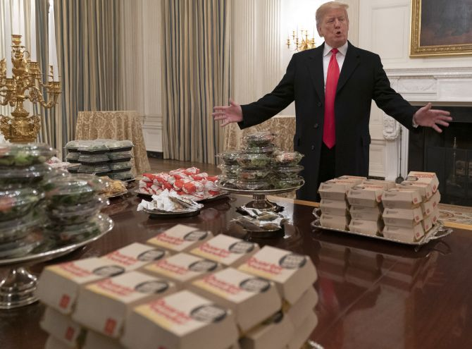 India News - Latest World & Political News - Current News Headlines in India - He's lovin' it: Trump serves up fast food feast at White House