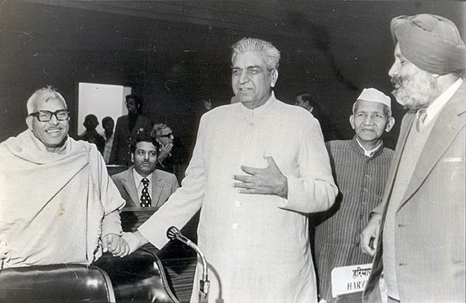 Then Bihar chief minister Karpoori Thakur, left, with then Haryana chief minister Chaudhary Devi Lal, centre, and then Punjab chief minister Parkash Singh Badal at a National Development Council meeting, January 19, 1979