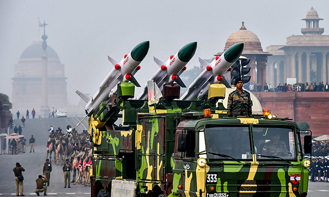 Akash missiles, which will be seen at the Republic Day 2019 parade. Photograph: Kamal Kishore/PTI Photo