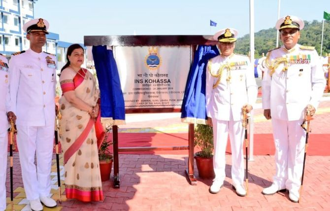 Chief of Naval Staff Admiral Sunil Lanba and his wife Reena Lanba, president, Naval Wives Welfare Association, and other officers unveil the INS Kohassa in Port Blair, January 24, 2019. Photograph: @indiannavy/Twitter